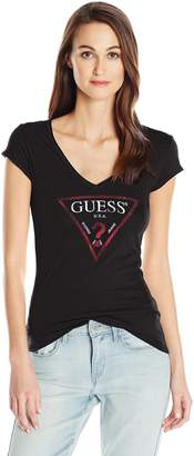 GUESS Women's Short Sleeve Logo Vneck T-Shirt