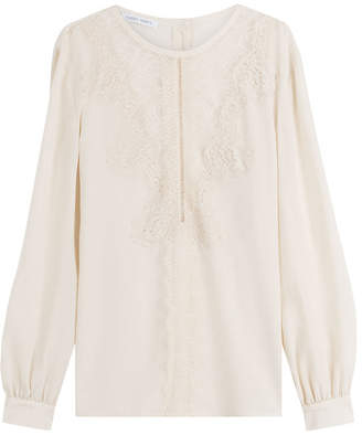 Alberta Ferretti Silk Blouse with Lace
