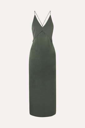 Dion Lee Satin And Crepe Midi Dress - Green