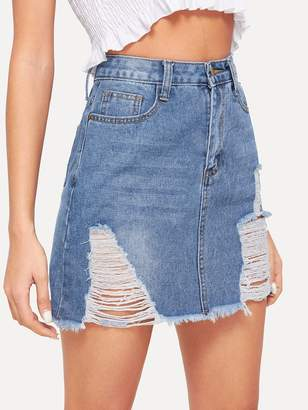 949e08e15c Shein Bleach Wash Ripped Denim Skirt
