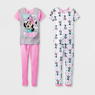 Minnie Mouse Girls' Minnie Mouse 4pc Pajama Set - Gray/Pink/White