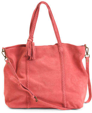 Suede Tote With Braided Handles