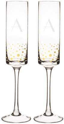 Cathy's Concepts Cathys Concepts 2-pc. Monogram Gold-Dotted Champagne Flute Set