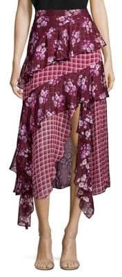 Bethany Tiered Floral-Print Silk Midi Skirt