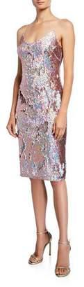 Aidan Mattox Sequined Sleeveless Scoop-Neck Sheath Dress