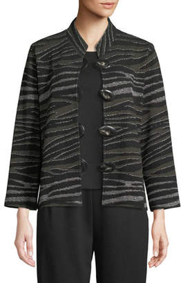 Caroline Rose Howl At The Moon Mandarin-Collar Easy-Fit Textured Metallic Knit Jacket, Plus Size