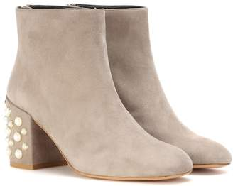 Stuart Weitzman Mona pearl suede ankle boots