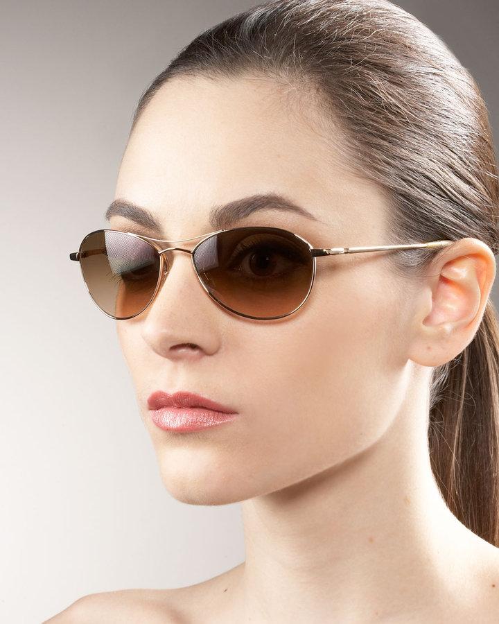Oliver Peoples Aero Metal Sunglasses, Gold