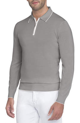 Stefano Ricci Half-Zip Long-Sleeve Silk Polo Shirt
