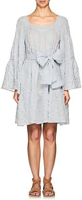 Lisa Marie Fernandez Women's Striped Cotton Peasant Midi-Dress - Lt. Blue