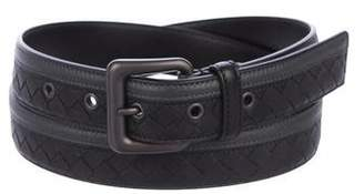 Bottega Veneta Striped Intrecciato Leather Belt