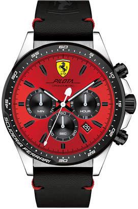 Ferrari Men's Chronograph Pilota Black Leather Strap Watch 45mm 0830387