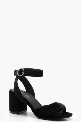 boohoo Twist Front Diamante Buckle Block Heels