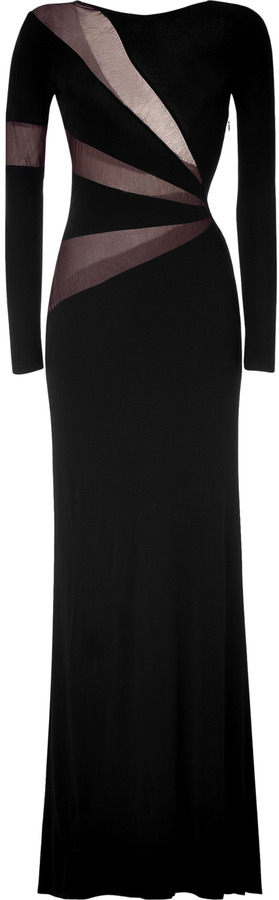 Emilio Pucci Black Sheer Mesh Trim Gown