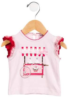MonnaLisa Girls' Embellished Short Sleeve T-Shirt