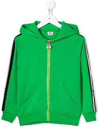 Gcds Kids logo striped sleeve hoodie