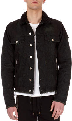 Balmain Python-Print Distressed Denim Jacket