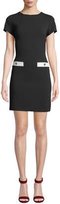 Modern American Designer Scuba Crepe Pocket Shift Dress