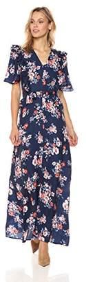 Ella Moon Women's Quinn Ruffle Flutter Sleeve Maxi Dress
