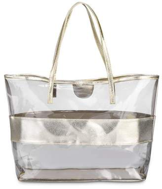 Vbiger 2 in 1 Womens Water-resistant Beach Jelly Handbag Polka Dots Transparent Tote Bag Bowknot Shoulder Bag
