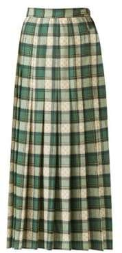 Gucci Wool Tartan Pleated Maxi Skirt