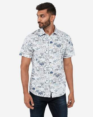 Express Slim Jungle Print Soft Wash Shirt