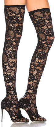 Dolce & Gabbana Lace Thigh High Boots in Black | FWRD