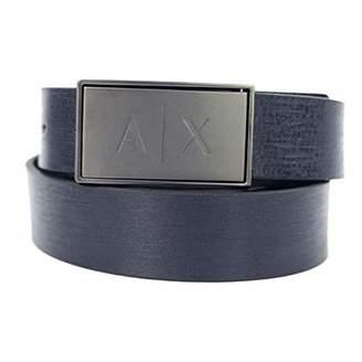 Armani Exchange Men's Leather Belt with Logo Latch,(Size: TU)