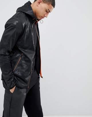 Soul Star Tonal Camo Neon Contrast Zip Through Jacket