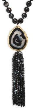 Nest Long Horn& Agate Tassel Necklace