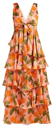 Borgo de Nor Flavia Tropical Print Hammered Silk Gown - Womens - Orange Multi