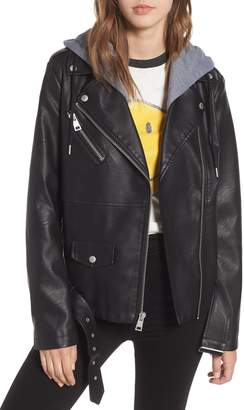 Levi's Fleece Hood Oversized Faux Leather Moto Jacket