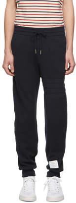 Thom Browne Navy Chunky Honeycomb Pique 4-Bar Lounge Pants
