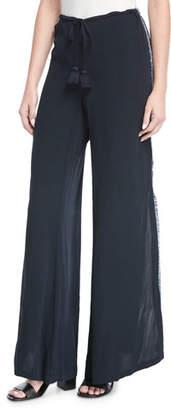 Figue Simone Split Wide-Leg Side-Fringe Pants