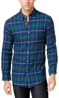 John Ashford Mens Flannel Plaid Button-Down Shirt Navy S