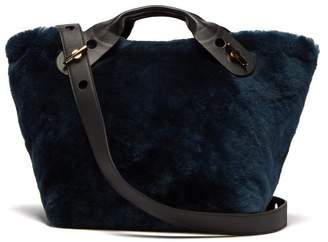 Sophie Hulme Bolt Shearling Tote Bag - Womens - Black Blue