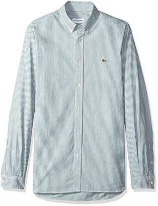 Lacoste Men's Long Sleeve Striped Poplin Stretch Collar Slim Woven Shirt