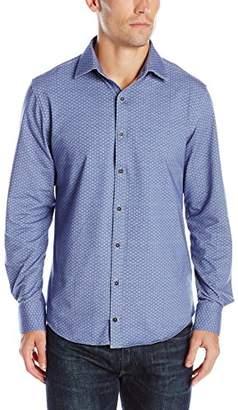 Stone Rose Men's Long Sleeve Geometric Jersey Button Down Shirt