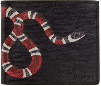 Gucci Black Leather Snake Wallet