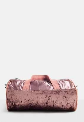 Missguided Pink Velour Detail Holdall Bag