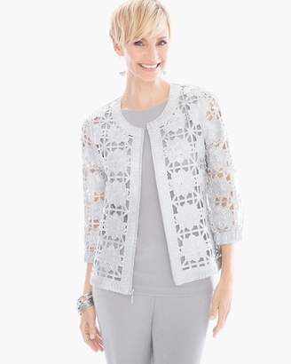 Travelers Collection Foiled Lace Bomber Jacket