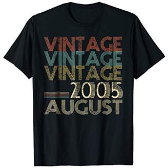 Retro Classic Vintage Born In AUGUST 2005 Gift 13 Years Old