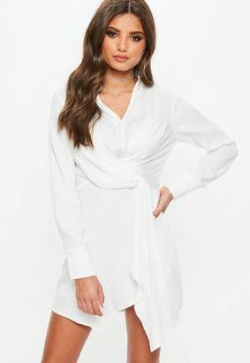 Missguided White Asymmetric Knot Front Shirt Dress