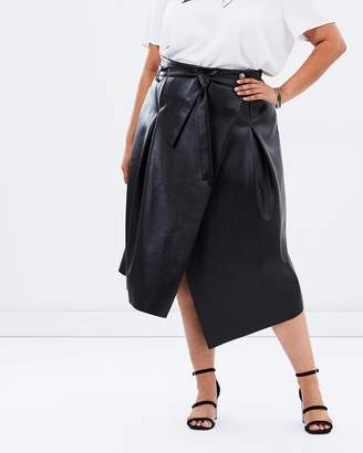 Karen Pleated Faux Leather Skirt