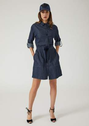 Emporio Armani Denim Shirt Dress With Drawstring Waist