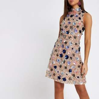 River Island Womens Pink sequin embellished mesh midi dress