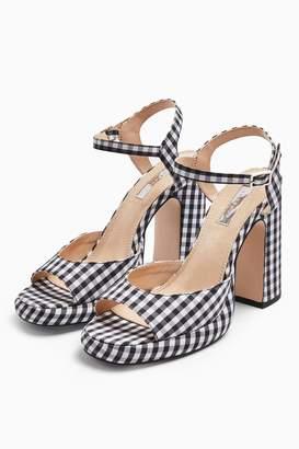 Topshop RENO 90's Gingham Platform Heels Sandals