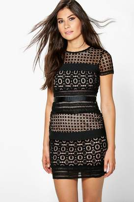 boohoo Boutique Ita Crochet Panelled Bodycon Dress