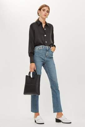 Topshop Mid Blue Straight Leg Raw Hem Jeans