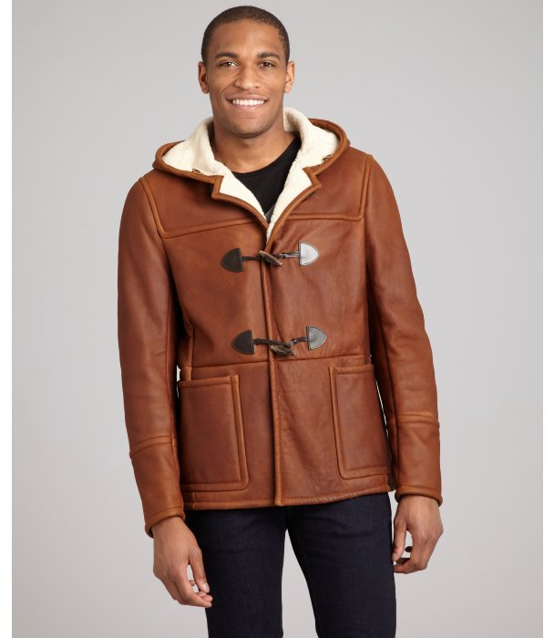 Prada coconut sheepskin toggle front hooded shearling jacket